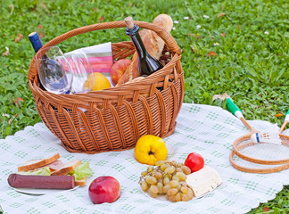 picnic basket with sandwiches, fruit and wine