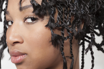 Model with braids closeup