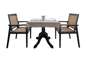 Table and chairs isolate on white