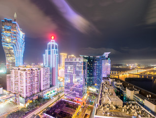 Macau, China. Spectacular view of Casinos area with night lights