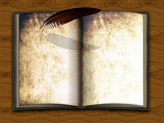 altes Buch beschreibbar mit Schreibfeder