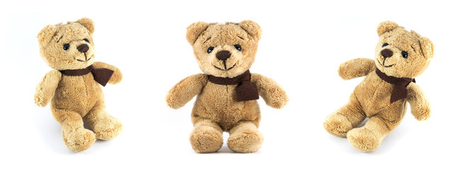 TEDDY BEAR brown color three side on white background