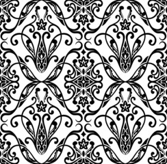 Seamless pattern in black and white. Vector.