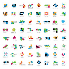 Puzzle Icons Set - Isolated On White Background,