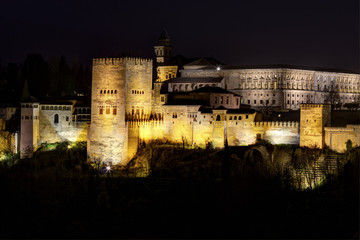 Comares Tower of the Alhambra in Granda, Spain at night
