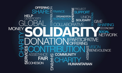 Solidarity donation charity contribution help word tag cloud