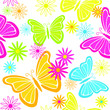 Colorful butterflies and flowers seamless background