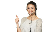 Headset woman call center operator
