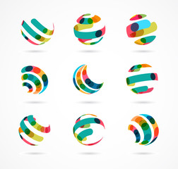Collection of abstract colorful business icons
