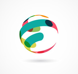Abstract colorful globe business icon