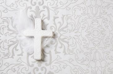 Weißes Kreuz für eine Trauer oder Kondolenz Karte