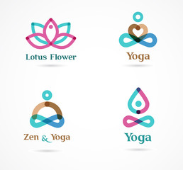 Collection of yoga icons, elements and symbols