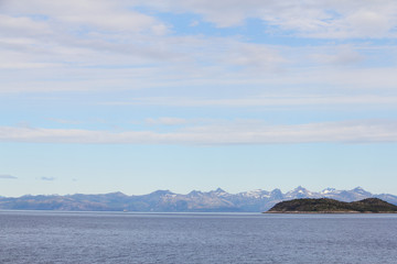 Arctic mountains and fjord