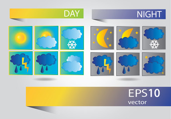 Vector set of icons for weather forecast