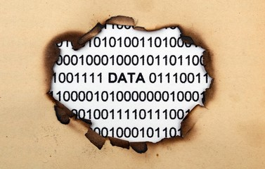 Data text on paper hole