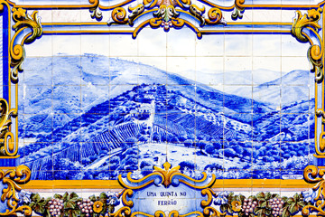tiles (azulejos) at railway station of Pinhao, Douro Valley, Por