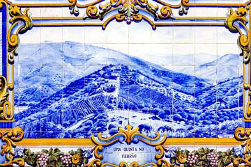 tiles (azulejos) at railway station of Pinhao, Douro Valley, Por