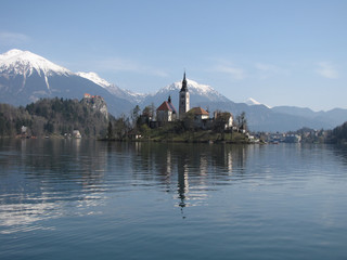 bled lake on the sun