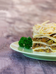 South African boboti layered with pancakes