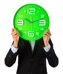 Business man and his clock show best time period
