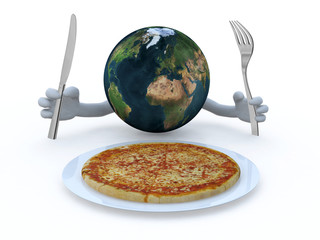 the world with hands, fork and knife in front of a pizza dish
