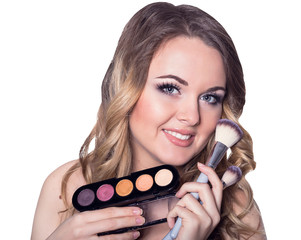 beautiful girl  with brushes