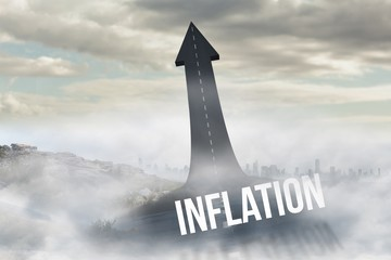 Inflation against road turning into arrow