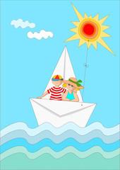 barchetta di carta sul mare