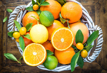 Mix of fresh citrus fruits on rustic wood