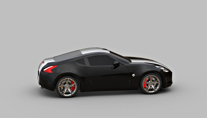 A CG render of a generic luxury sports car  Black