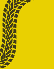 yellow special background with tire track, vector illustration,