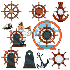 marine helm, steering wheels, anchor, navigator_set