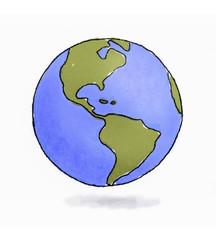 Hand drawn sketchy Earth pencil and watercolors