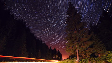 Star trails in forest road - moving stars timelapse
