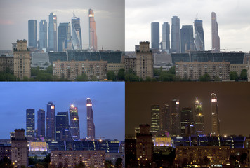 Morning, afternoon, evening and night in Moscow City