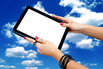 woman hands holding tablet