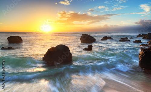 Zdjęcia na płótnie, fototapety na wymiar, obrazy na ścianę : Crépuscule sur la plage de Boucan, La Réunion