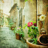 charming courtyards, retro styled picture