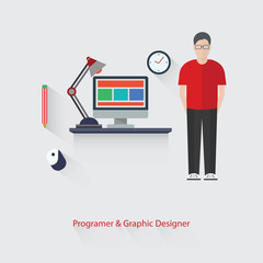 Programer and Graphic design,vector