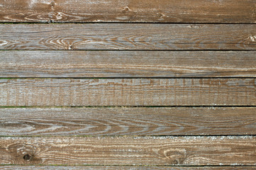 Fence from wooden horizontal planks as background closeup