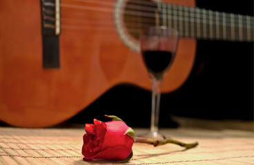 rose vine and spanish guitar romantic evening