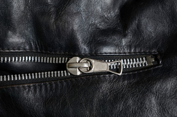 leather jacket zipper detail