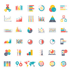36 icons Infographics Data analysis on white background