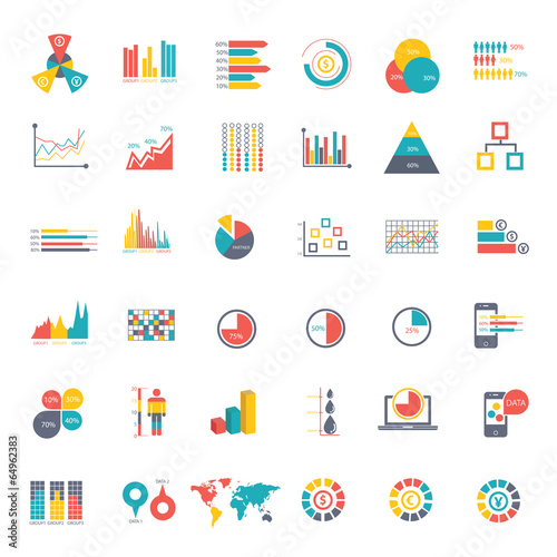 36 icons Infographics Data analysis on white background - 64962383