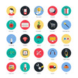 Set of icons for mobile app and web. Flat desing with trendy col
