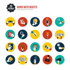 Hands with object icons set. Flat Design