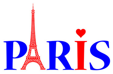 Paris with love hearts and Eiffel Tower made by red hearts
