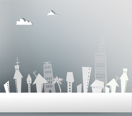 Paper city background with buildings and trees