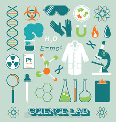 Vector Set: Science Lab Icons and Objects