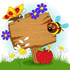 wooden sign with flowers and insects - vector illustration